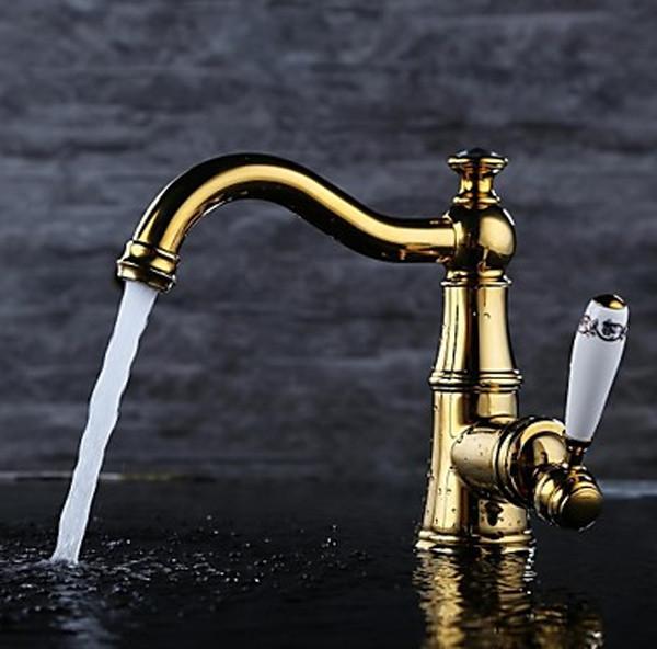 Milo Gold Plate Bath Vessel Sink Faucet