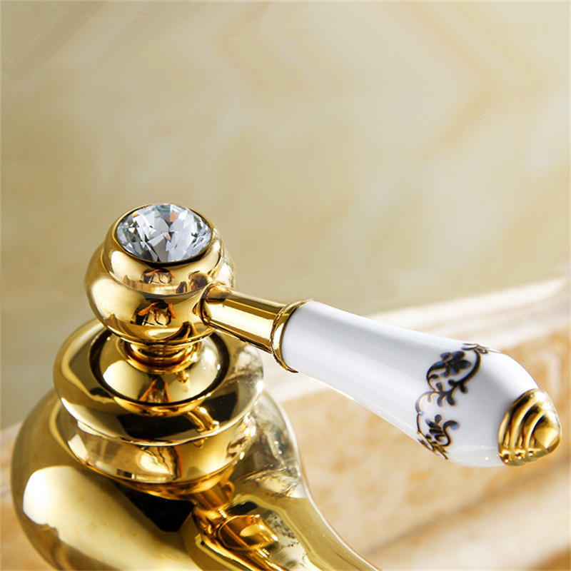 Bathroom Faucets Gold Finish versilia gold finish sink faucet brass single handle with ceramic