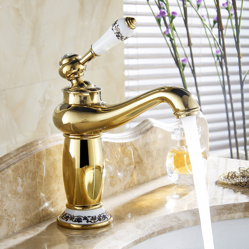 Buy Versilia Gold Finish Sink Faucet Brass Single Handle With ...