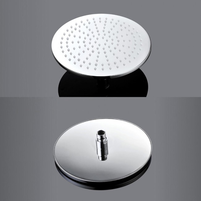Venice Round Wall Mount Color Changing LED Rain Shower Head Set - Chrome Rain Shower Set