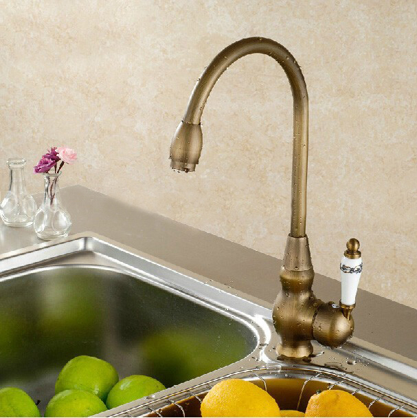 Giorgia Antique Brass & Ceramic Hot and Cold Brass Kitchen Sink Faucet Deck Mounted Single Handle Kitchen Mixer Tap