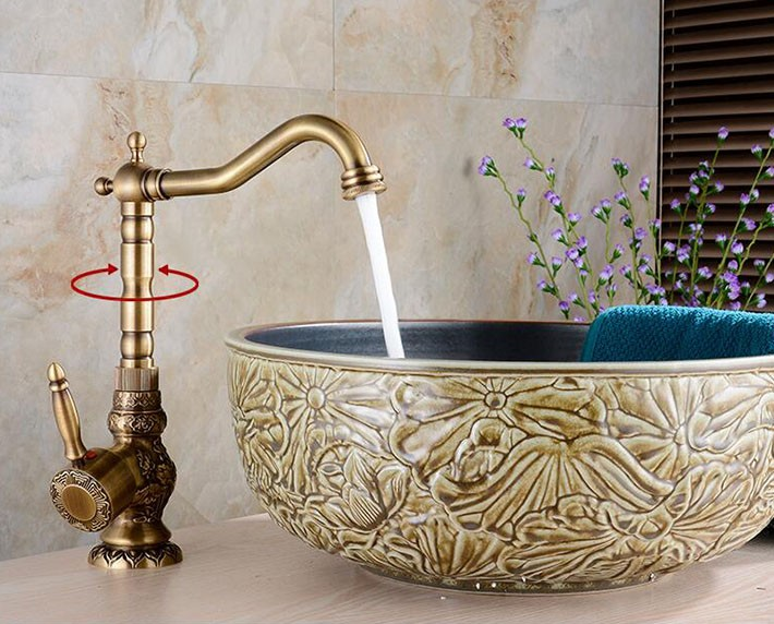 Buy Antique Long Neck Brass Body Bathroom / Kitchen Sink Faucet With ...