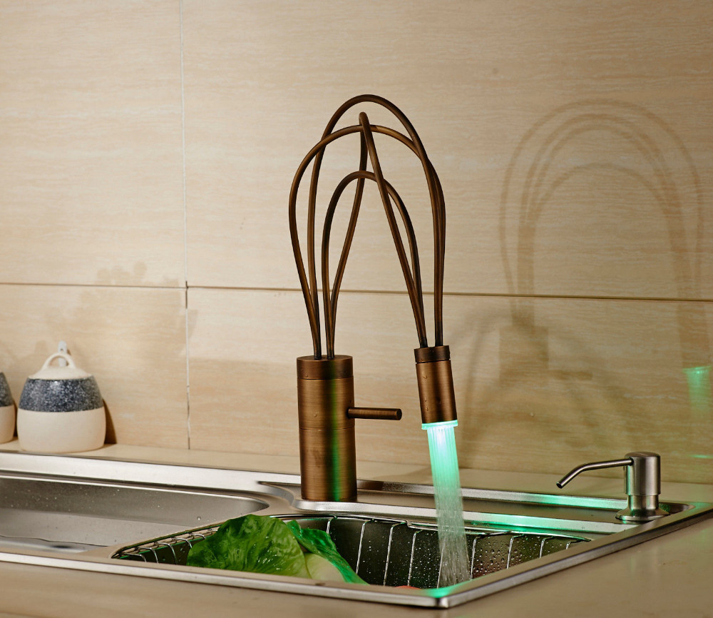 Juno Kitchen Mixer Faucet Single Lever Swivel Spout Color Changing LED Light Brass