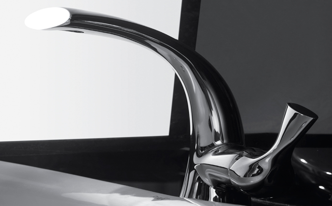 Bravat B PVD Brushed Nickel Finish Bathroom Basin Mixer Tap