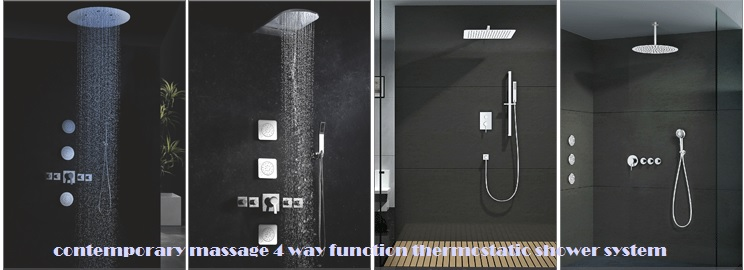 Contemporary Massage 4 Way Function Thermostatic Shower System