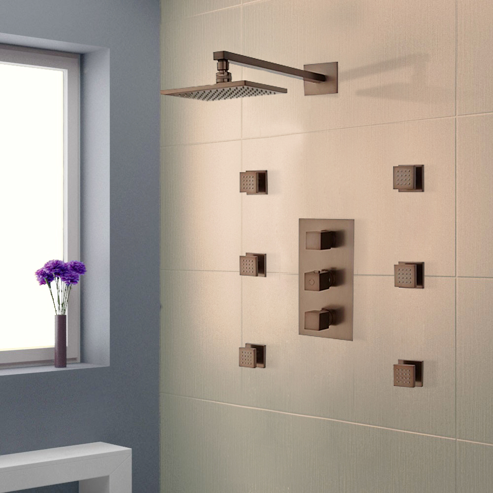 Buy Reno Oil Rubbed Bronze Finish Shower System With Adjustable Body ...
