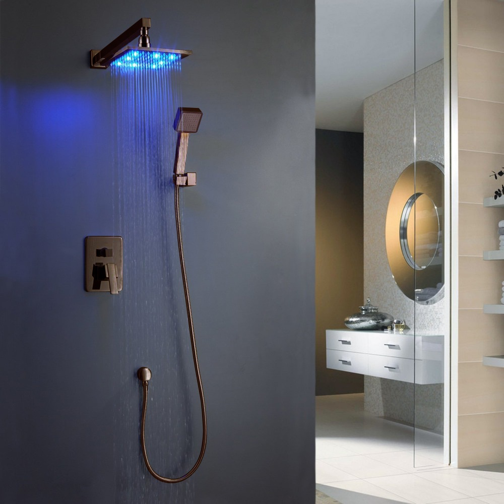 oil rubbed bronze led shower set the ultimate bath showering experience durable dependable and with the luxury of a orb finish solid brass roughin valve