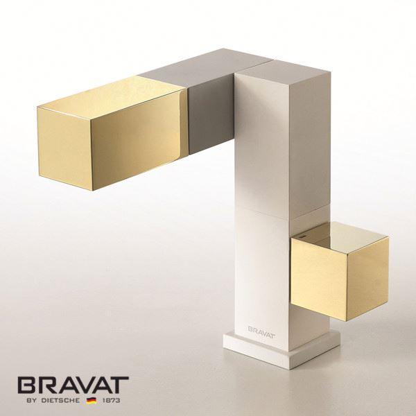Bravat Gold basin mixer brass body air mix technology