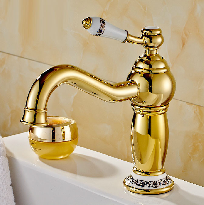 Rio Gold Sink Faucet with Ceramic Accents