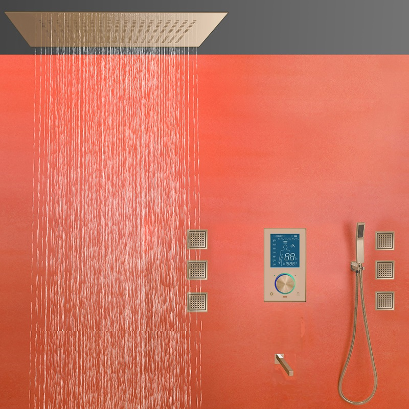 Reno Gold Tone Color Changing LED Rain Shower Set
