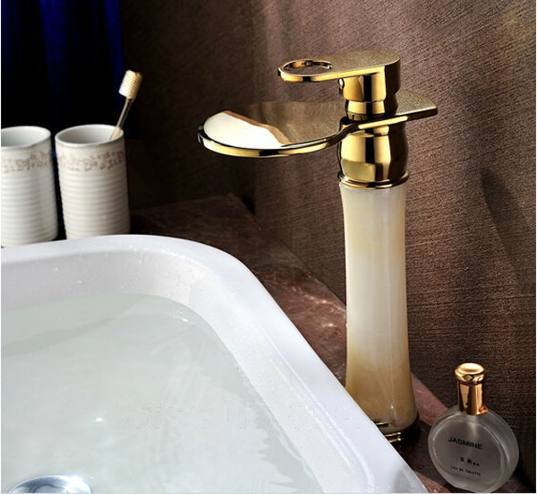 golden-polished-waterfall-bathroom-sink-faucet