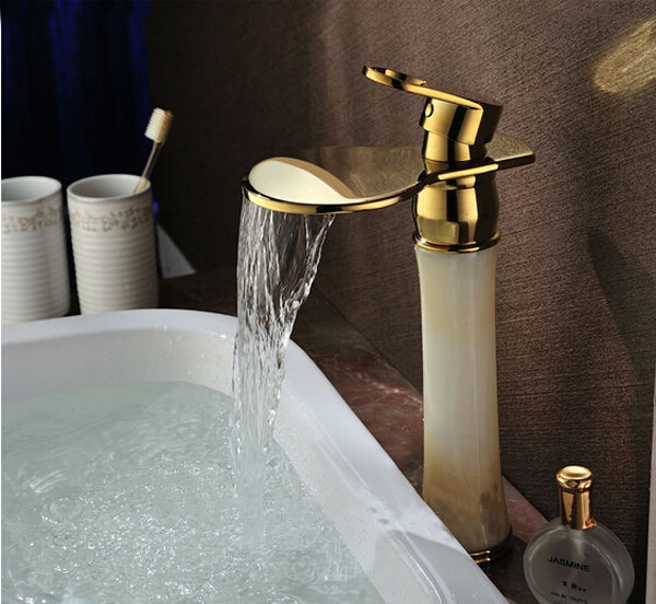 Gold Polished Waterfall Bathroom Sink Faucet