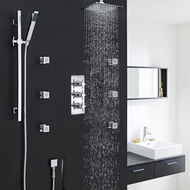 """Thermostatic 3 Outlet Shower System Set With 12"""" Square Head & 6 Jets"""