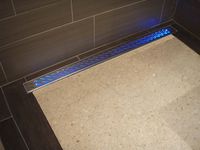 LED Shower Floor Linear Drain