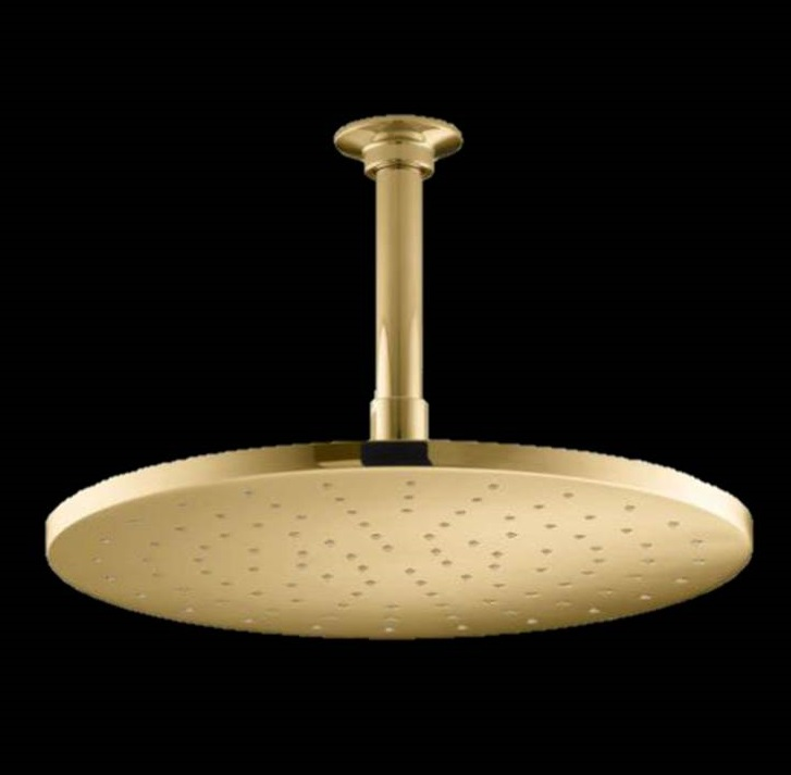 "12"" Gold Tone Round Color Changing LED Rain Shower Head"