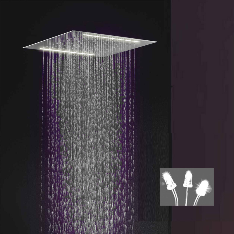 recessed rain shower head. You can choose this electric LED recessed shower head to come in either  red white blue or green This is a single color and will not change Contemporary Brass Shower Head Multi Color Changing