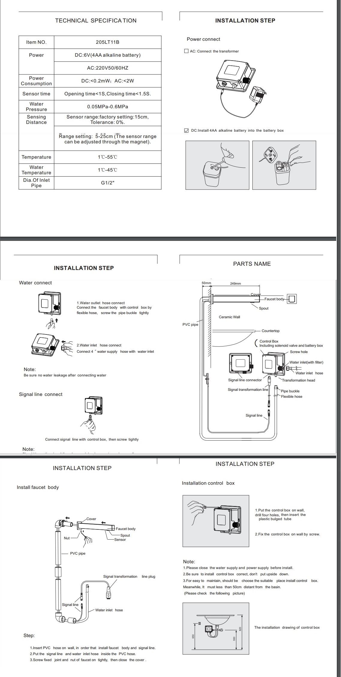 Installation Instructions For Fontana Wall Mounted Bath Sensor Faucet