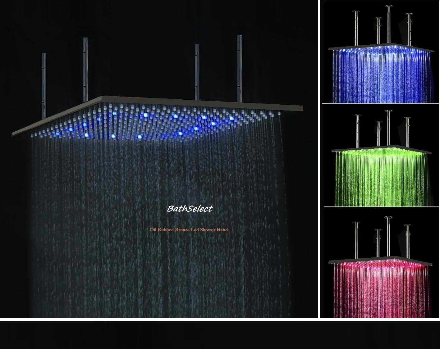Bathselect 20 Oil Rubbed Bronze Square Color Changing Led Rain Shower Head