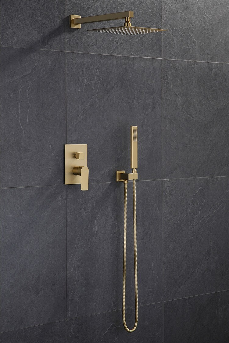 Bathselect Lima Square Rain Shower Head With Concealed Mixer And Handheld Shower In Brushed Gold Finish