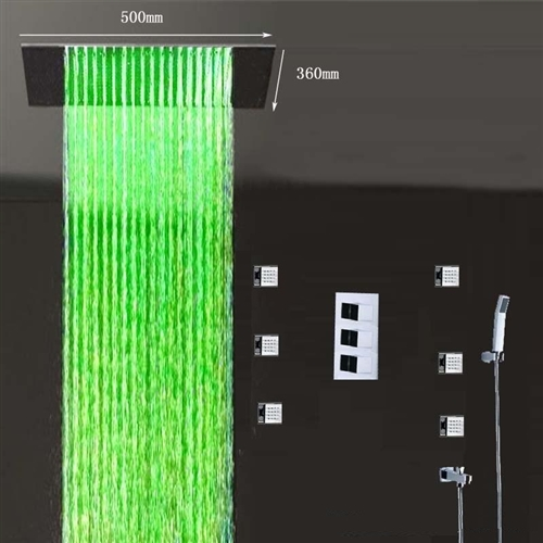 Recessed Color Changing Water Powered Led Shower
