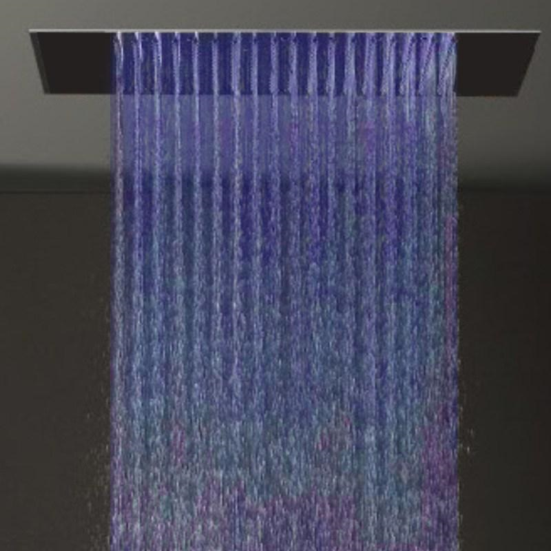 the nariman solid brass color changing led rain shower head with mixer and adjustable body jets