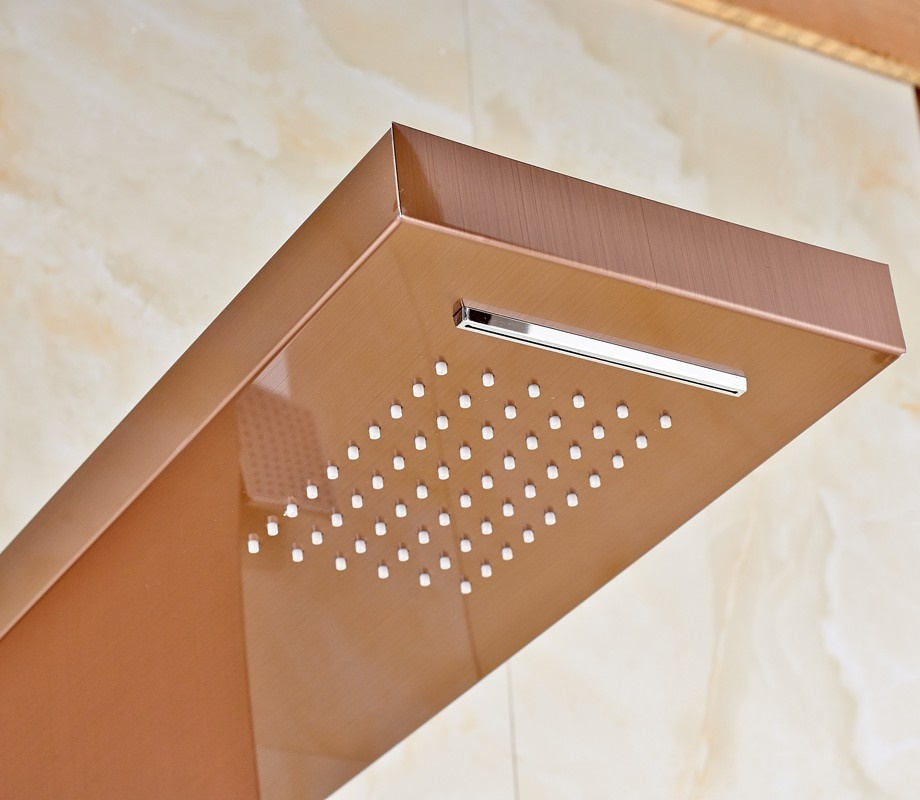 Fontana Wall Mounted Gold Finish Rain-Waterfall Shower Panel