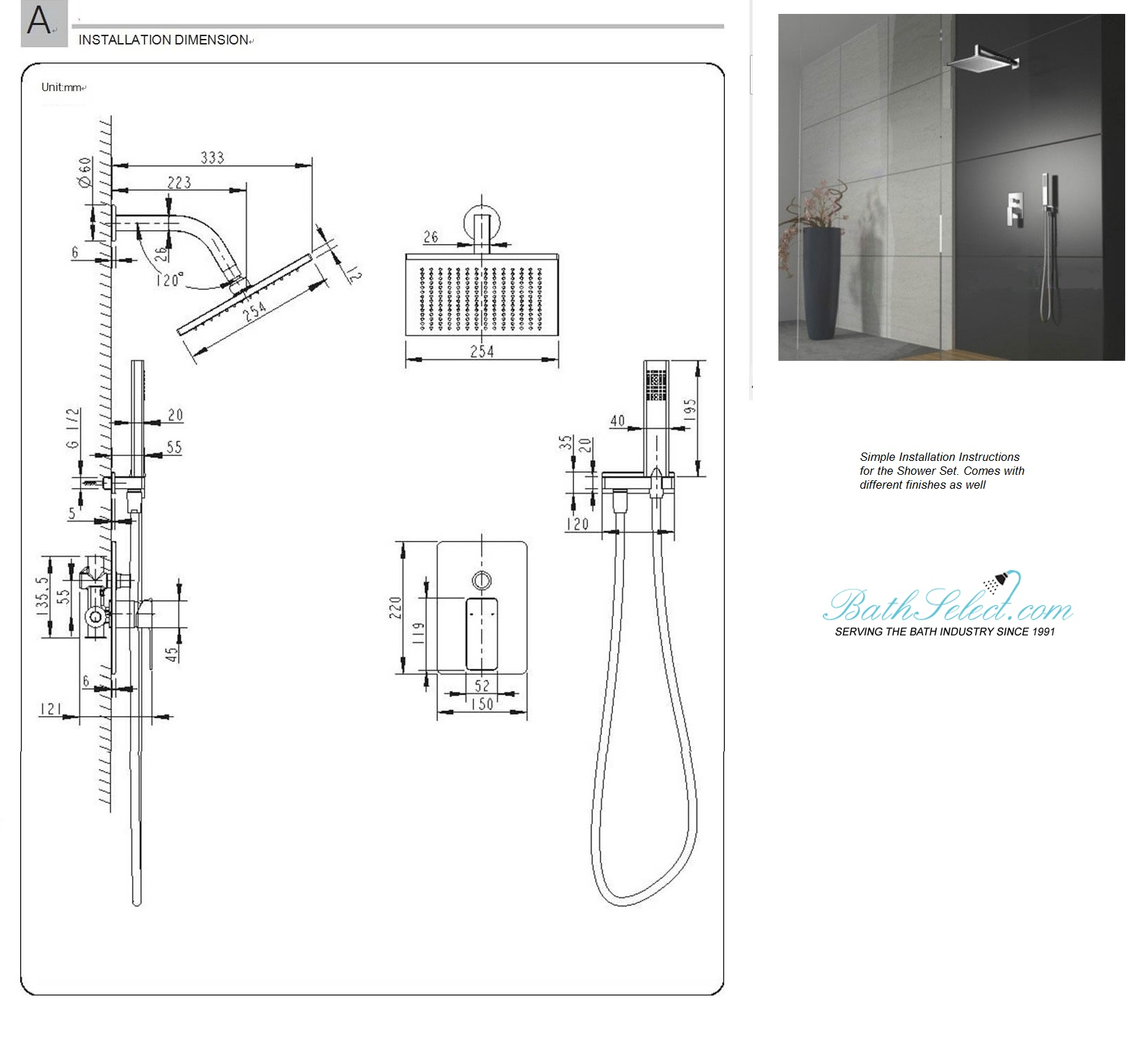 Onassis Milano Shower Set Installation Instructions