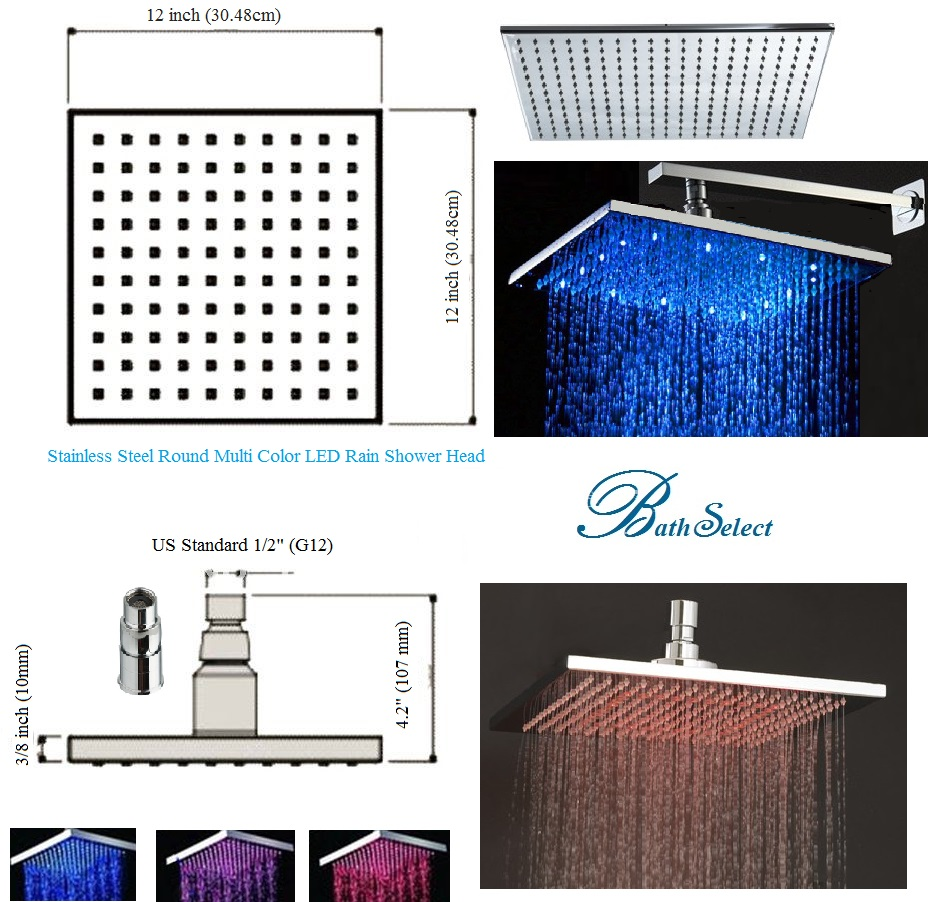 "8"" Solid Brass Square Color Changing LED Rain Shower Head"