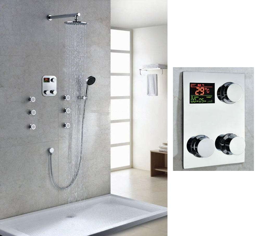 Shop Thermostatic Digital Display Bathroom Rainfall Shower Set At ...