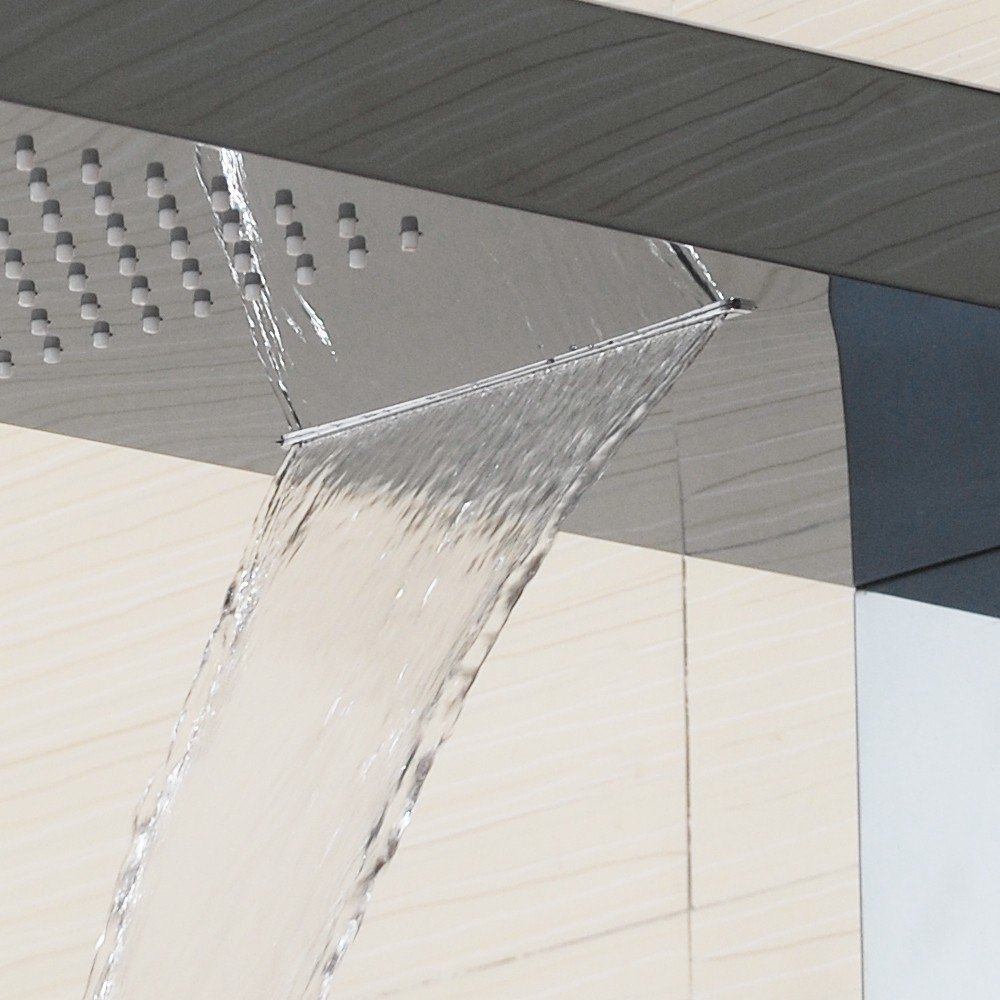 ... Ujia 10026 Black Bathroom Shower Panel Jets ...