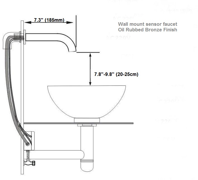 Brio Wall Mount Commercial Sensor Faucets Oil Rubbed Bronze Finish