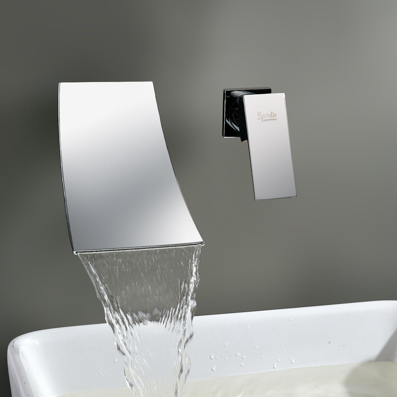 Contemporary Wall Mounted Waterfall Bathtub Shower Faucet Chrome Shower Mixer Tap