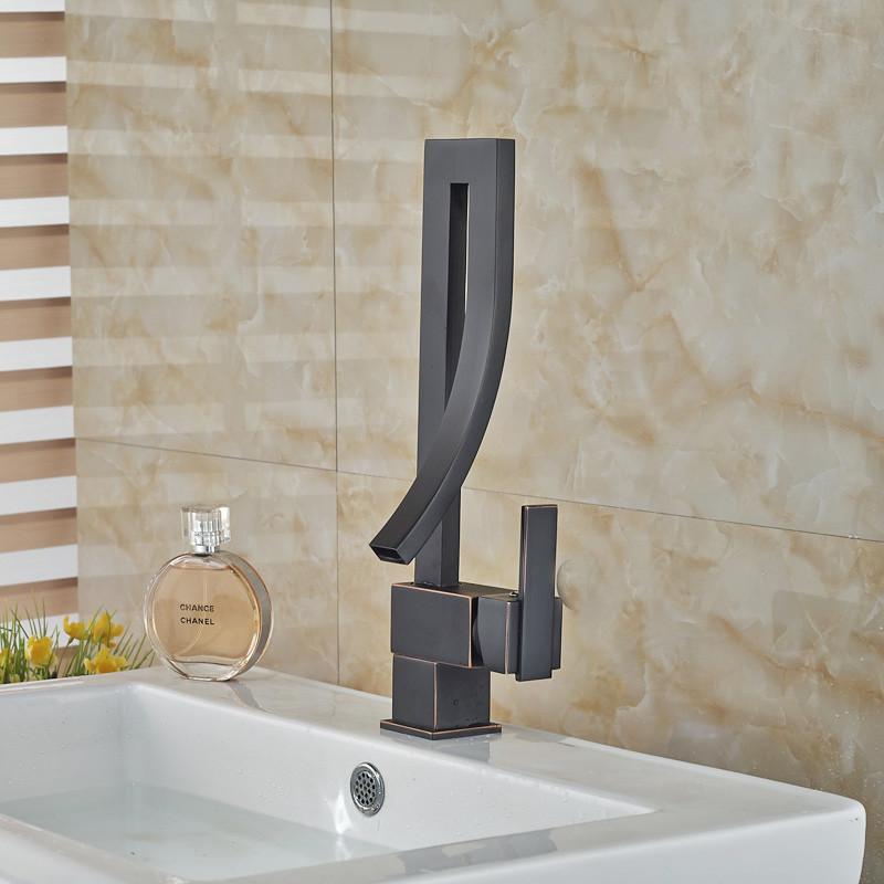 Shop Oil Rubbed Bronze Designer Single Lever Bathroom Sink Faucet At ...