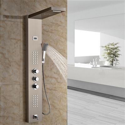Roman Luxury Digital Display Brushed Nickel Finish Shower Panel with Handheld Shower Head