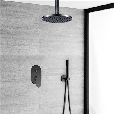 Bravat Ceiling Mounted Dark Oil Rubbed Bronze Shower Set With Thermostatic Valve Mixer Concealed