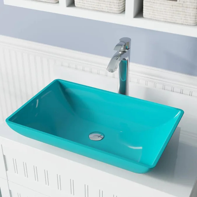 Genoa Turquoise Colored Glass Vessel Bathroom Sink