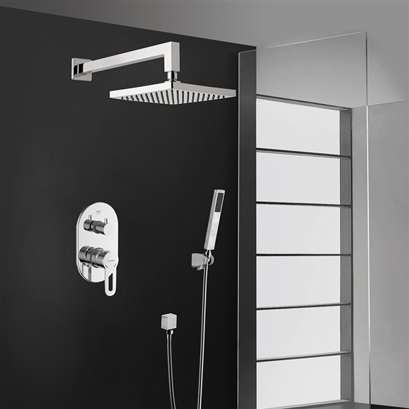 Bravat New Chrome Square Wall Mount Shower Head With Hand-Held Shower &  Mixer
