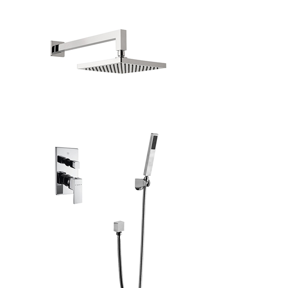 Bravat Chrome Square Wall Mount Shower Head With Hand-Held Shower & Mixer