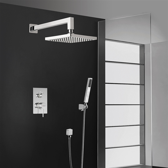 Bravat Elegant Chrome Square Wall Mount Shower Head With Hand-Held Shower & Mixer