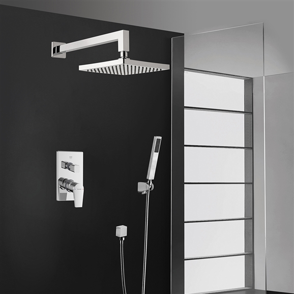 BathSelect Bravat Square Wall Mount Chrome Shower Head With Hand-Held Shower & Mixer