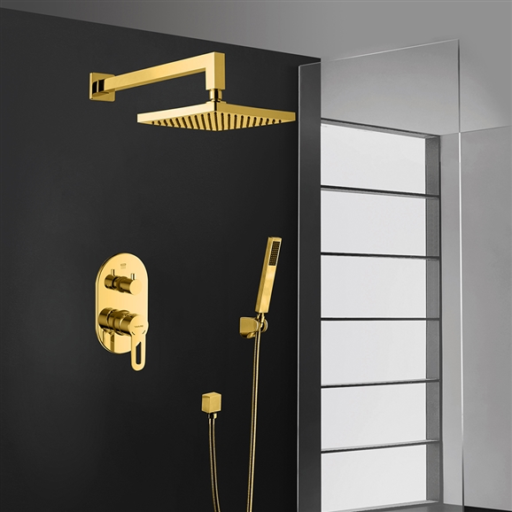 Bravat Gold Square Wall Mount Shower Head With Hand-Held Shower & Mixer
