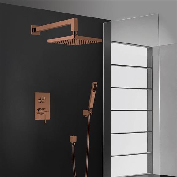 BathSelect Elegant Wall Mount Bronze Shower Head With Hand-Held Shower & Mixer