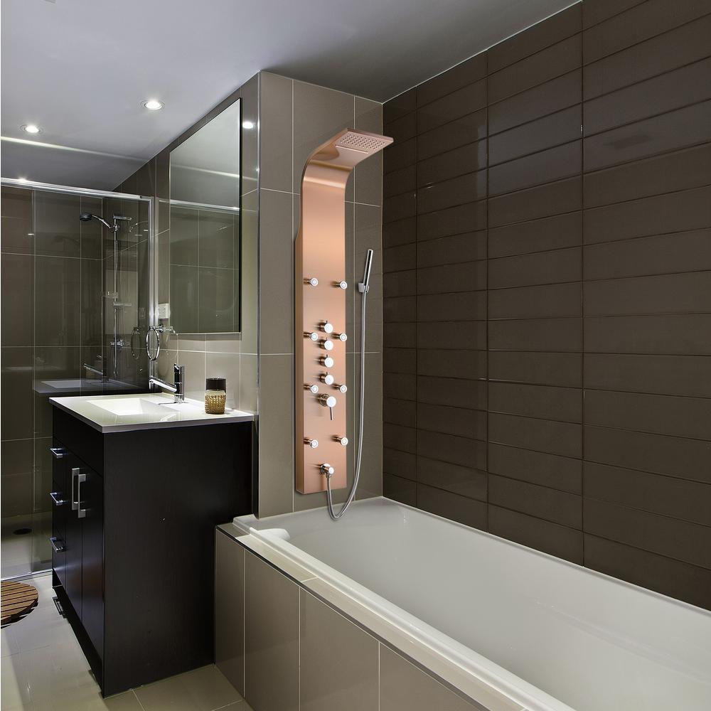 "BathSelect 65"" Light Oil Rubbed Bronze Multi-Functional Shower Panel"