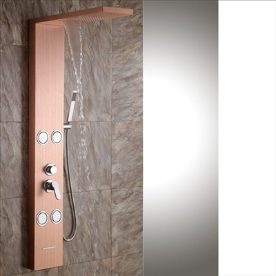 Aveiro Stainless Steel Bronze Shower Panel System with Rainfall Shower & Body Massage Jets