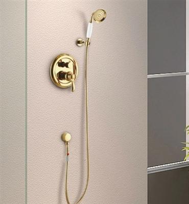 Luxury Gold Rain Shower Bathroom Shower Head with Hand-Held Shower