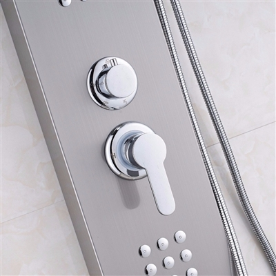 BathSelect Brushed Nickel Multi Function Shower Panel Stainless Steel