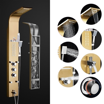 BathSelect Gold Multi Function Thermostatic Shower Panel
