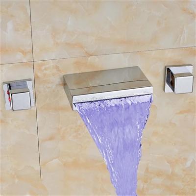 BathSelect Beautiful Waterfall LED Bathtub Faucet Wall Mount
