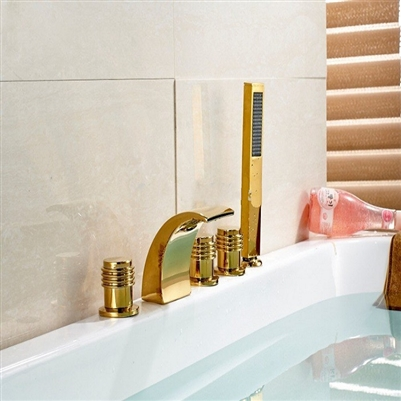 BathSelect Gold Deck Mount Bathtub Faucet With Hand-Held Shower