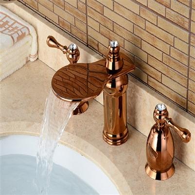 BathSelect Beautiful Deck Mount Faucet Rose Gold Dual Handle
